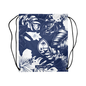Guam Blue Floral Large Drawstring Bag