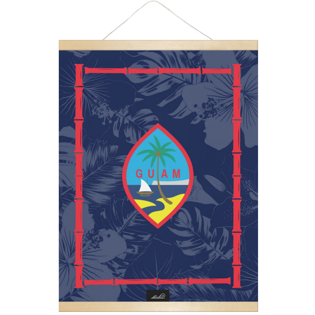Guam Flag Bamboo Hanging Canvas Poster with Wood Frame