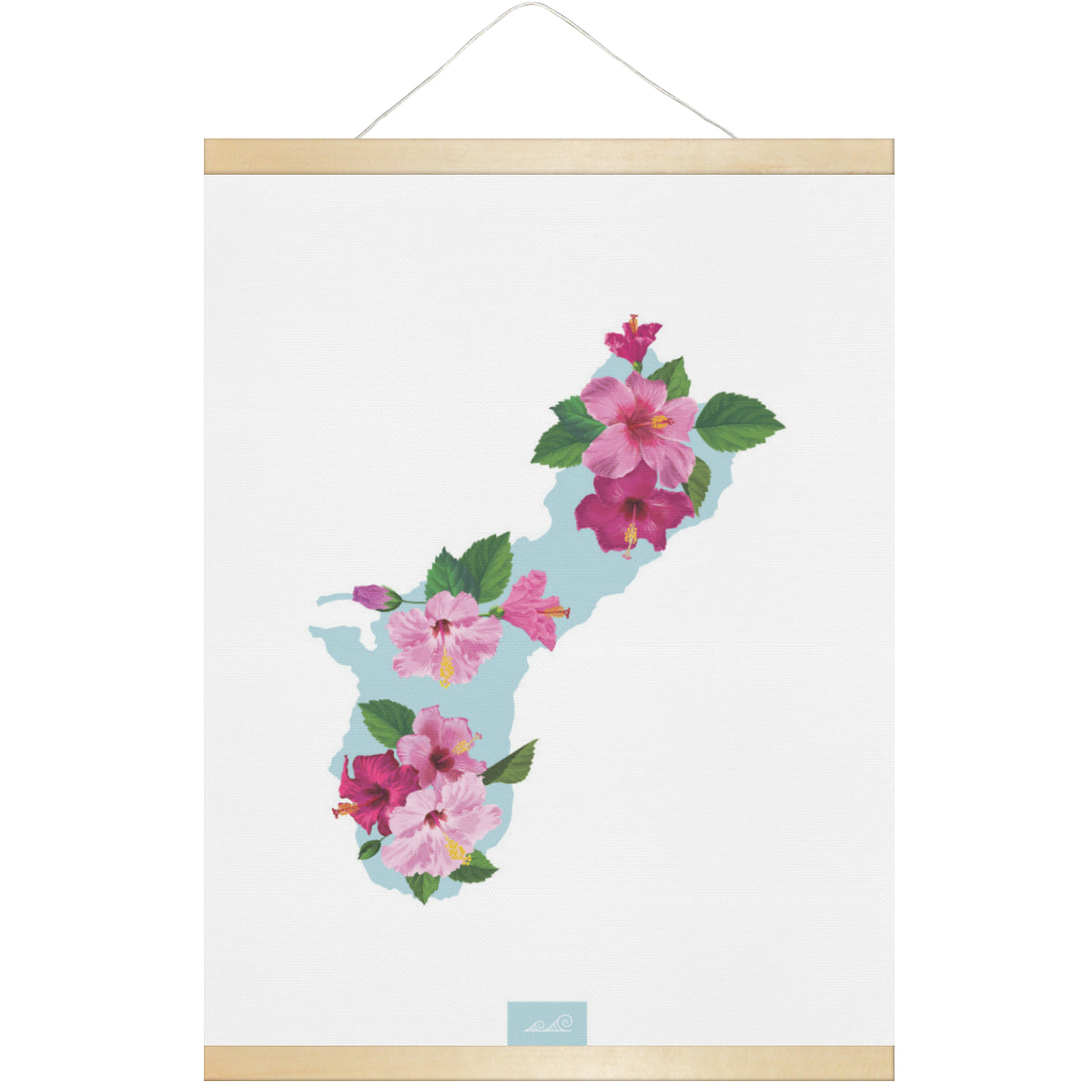 Guam Island Hibiscus Fuchsia Hanging Canvas Poster with Wood Frame