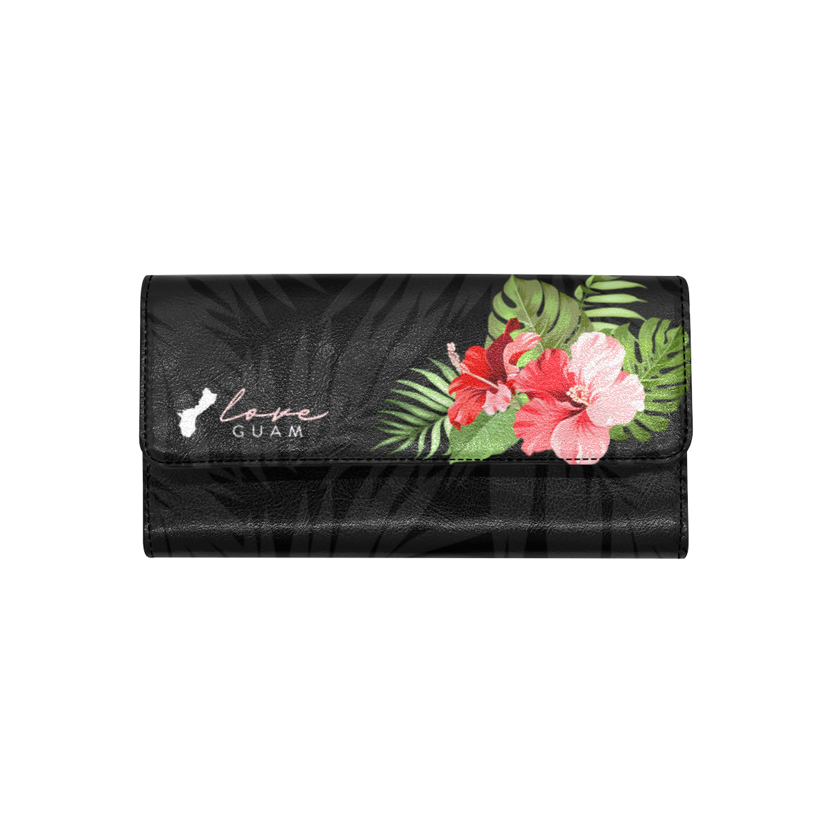 Love Guam Red Hibiscus Women's Trifold Wallet