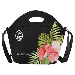 Guam Pink Hibiscus Neoprene Lunch Bag Large