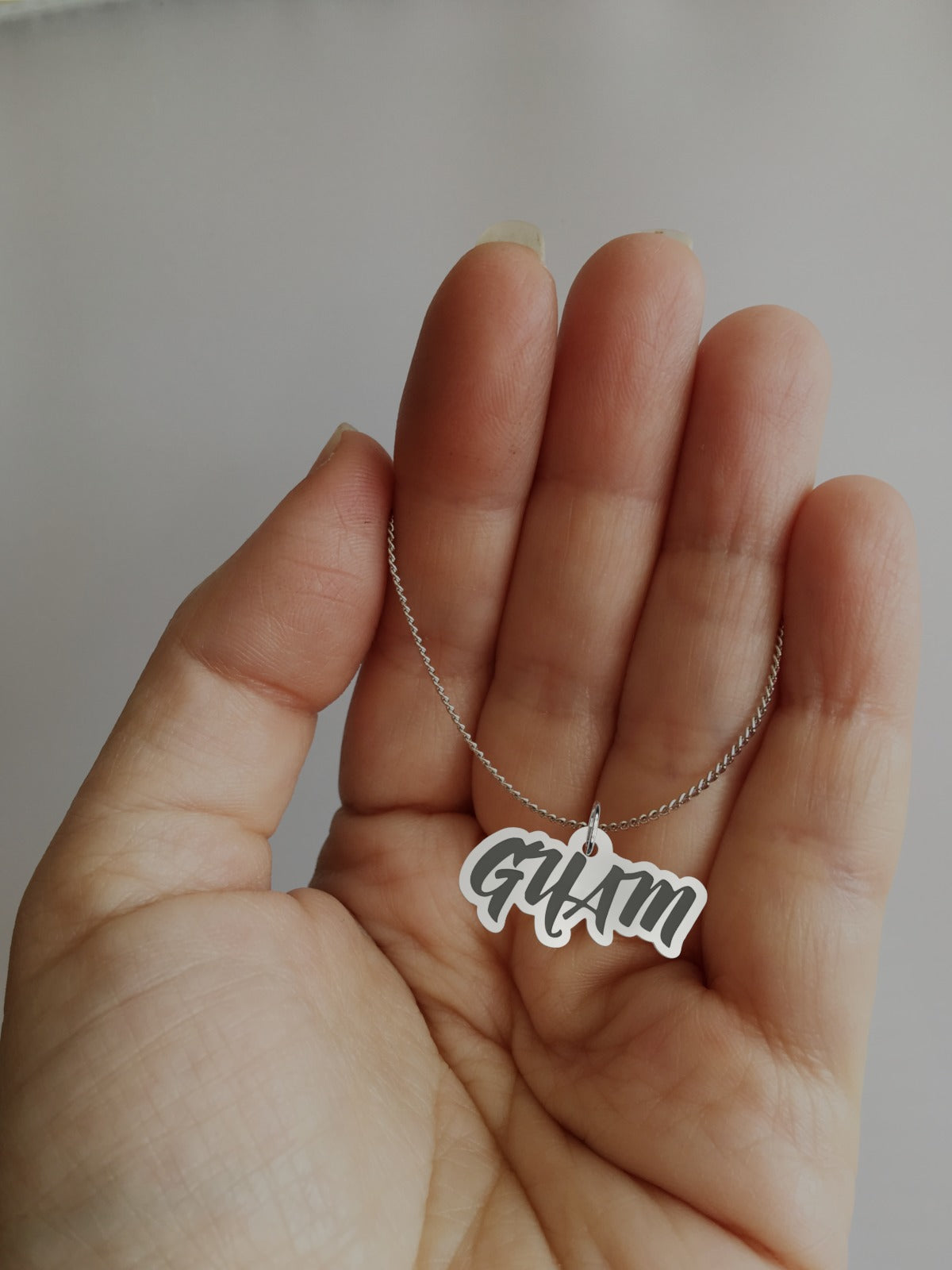 Guam Engraved Sterling Silver Necklace
