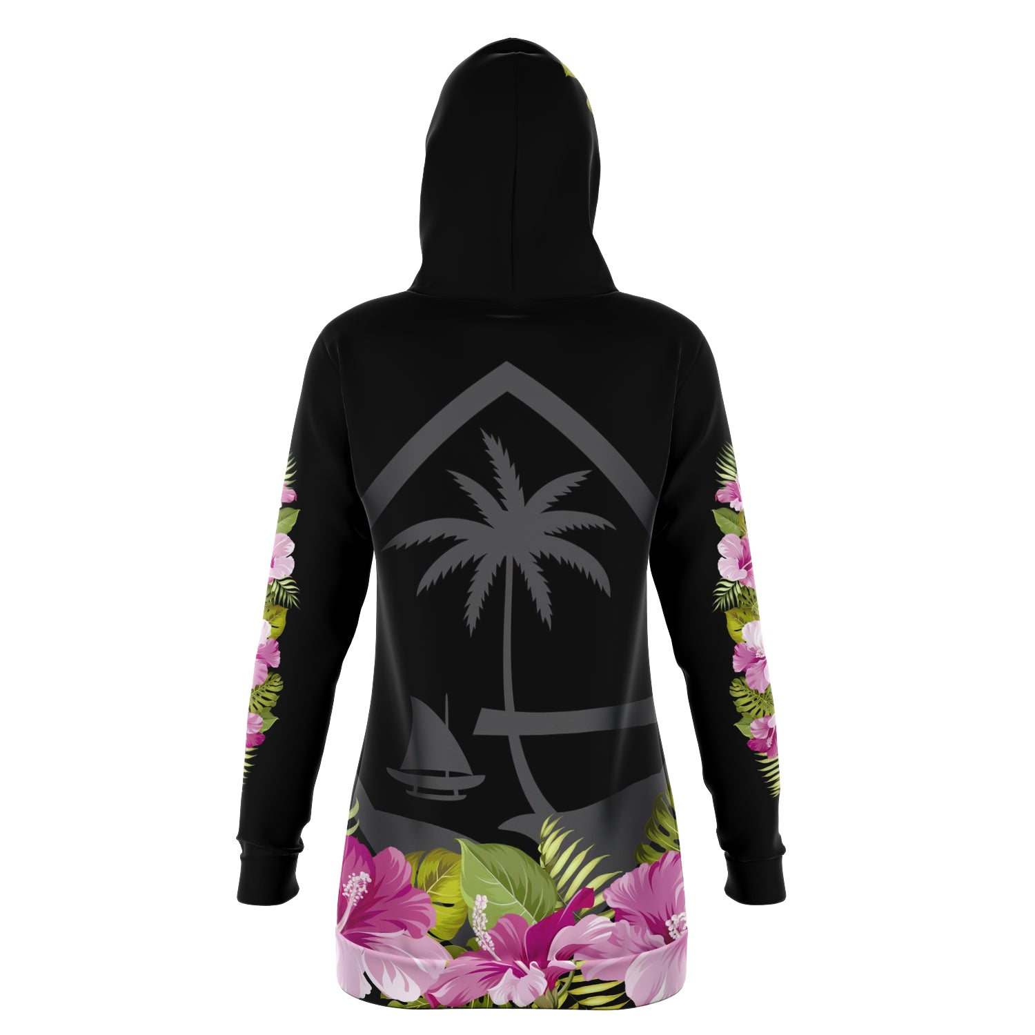 Guam Seal Hibiscus Black Long Hoodie Dress