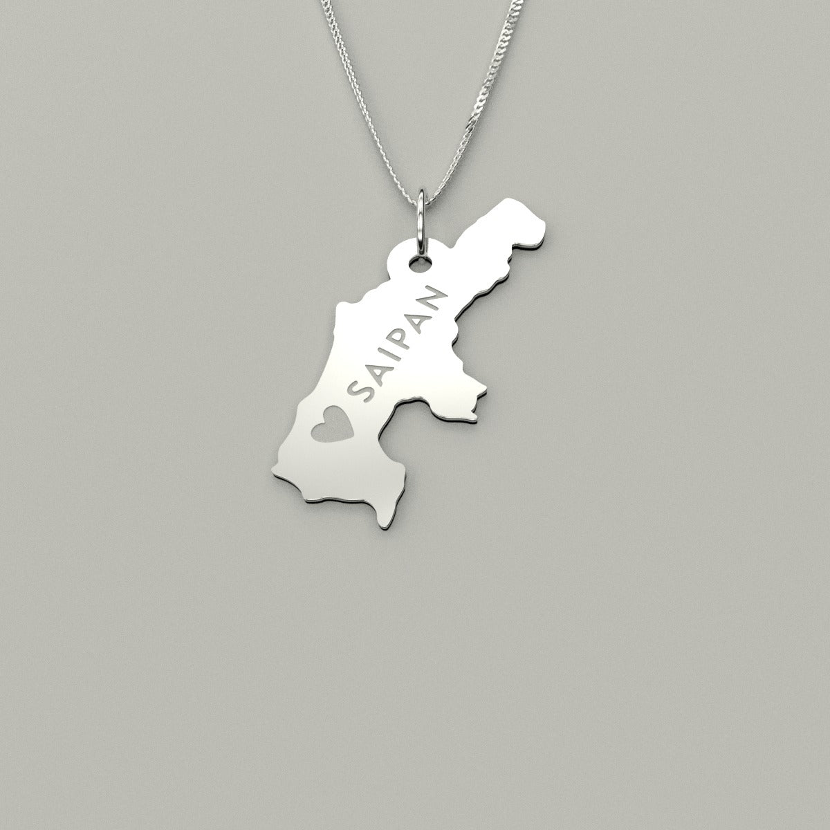 Love Saipan CNMI Sterling Silver Necklace