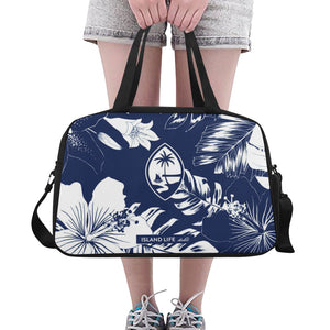 Guam Blue Floral Fitness Gym Bag