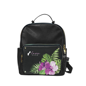 Love Guam Purple Hibiscus Black Campus Backpack Purse Large