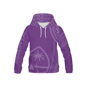 Kids Tribal Chamorro Guam Seal All Over Purple Pullover Hoodie