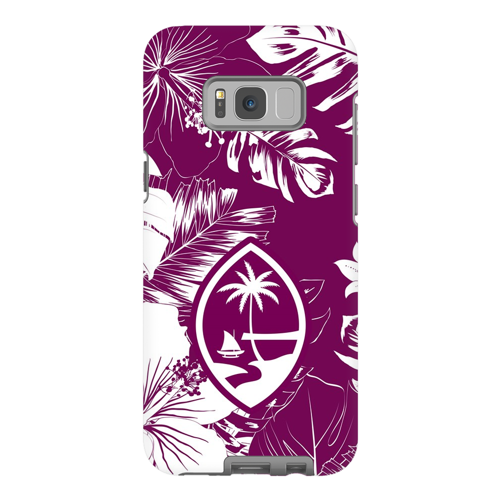 Guam Hibiscus Floral Purple Premium Glossy Tough Phone Case