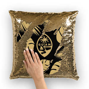 Guam Seal Black and Gold Sequin Cushion Cover