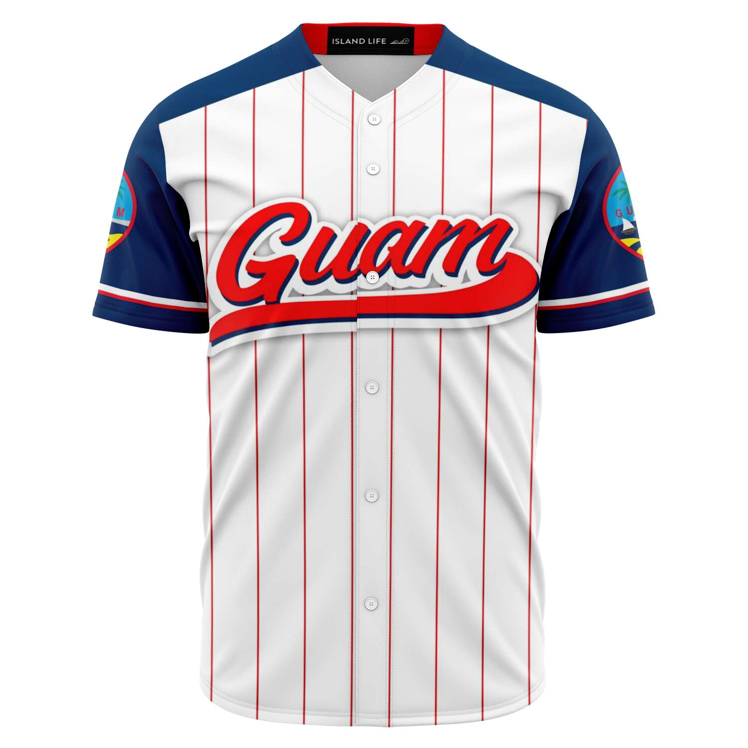 Guam Seal White Red Stripes Baseball Jersey