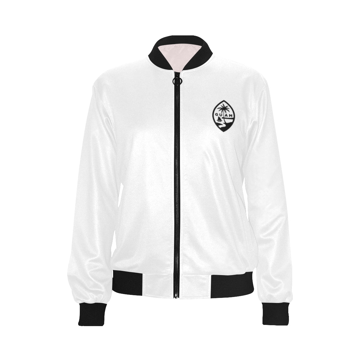 Guam Map White Women's Bomber Jacket