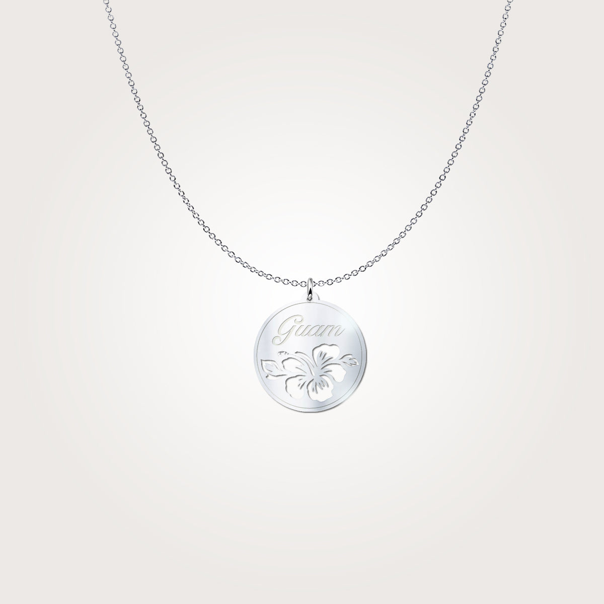 Guam Hibiscus Cutout Sterling Silver Necklace