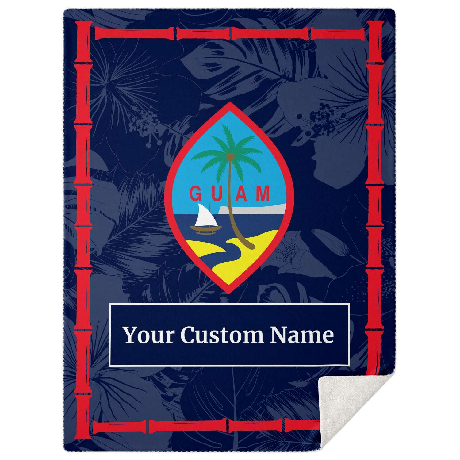 Guam Flag Bamboo Microfleece Blanket with Personalization