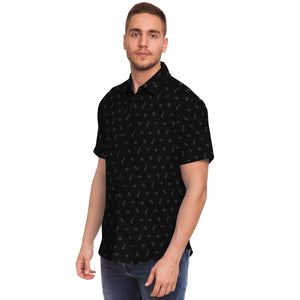 Guam Black Button Down All Over Print Shirt