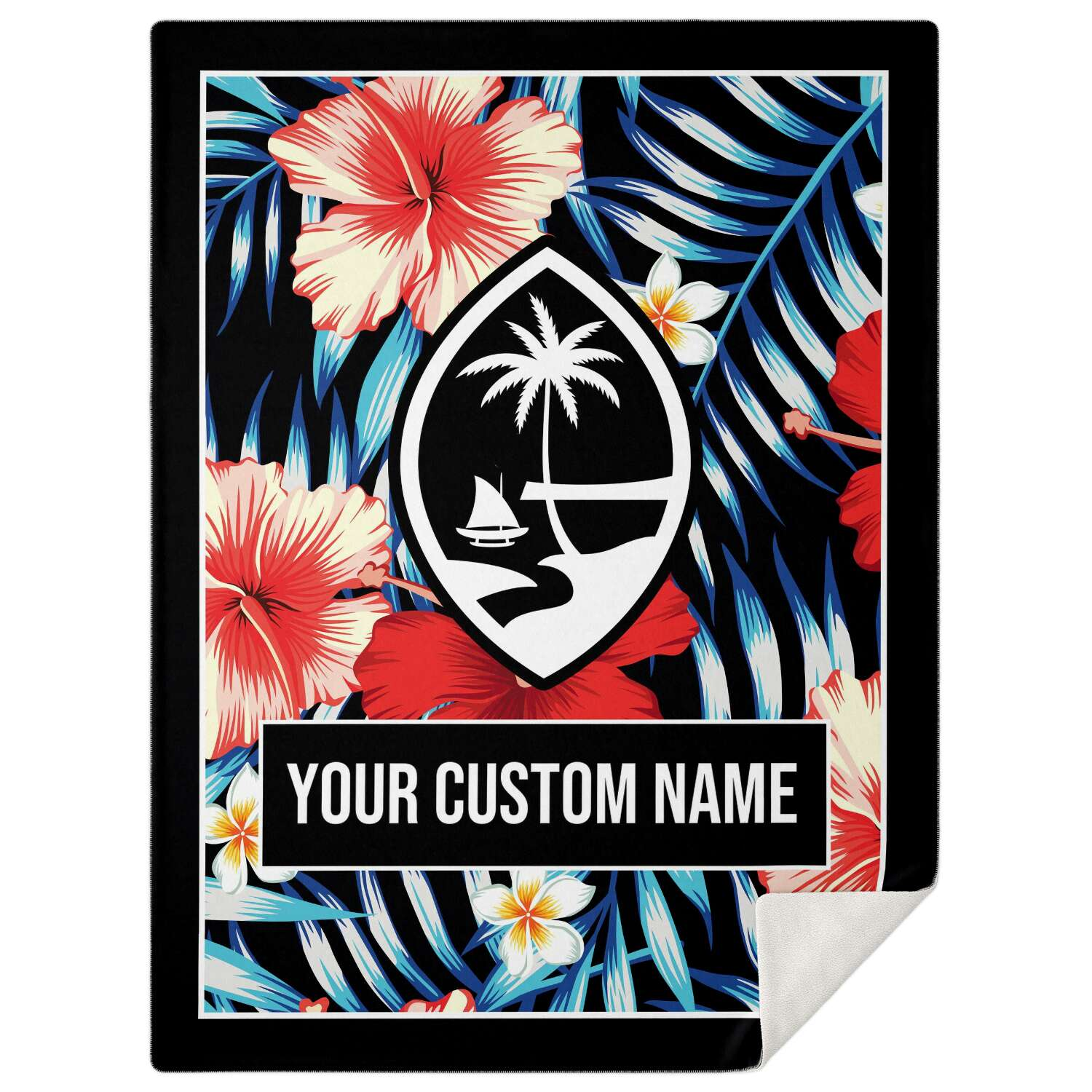 Guam Tropical Floral Microfleece Blanket with Personalization