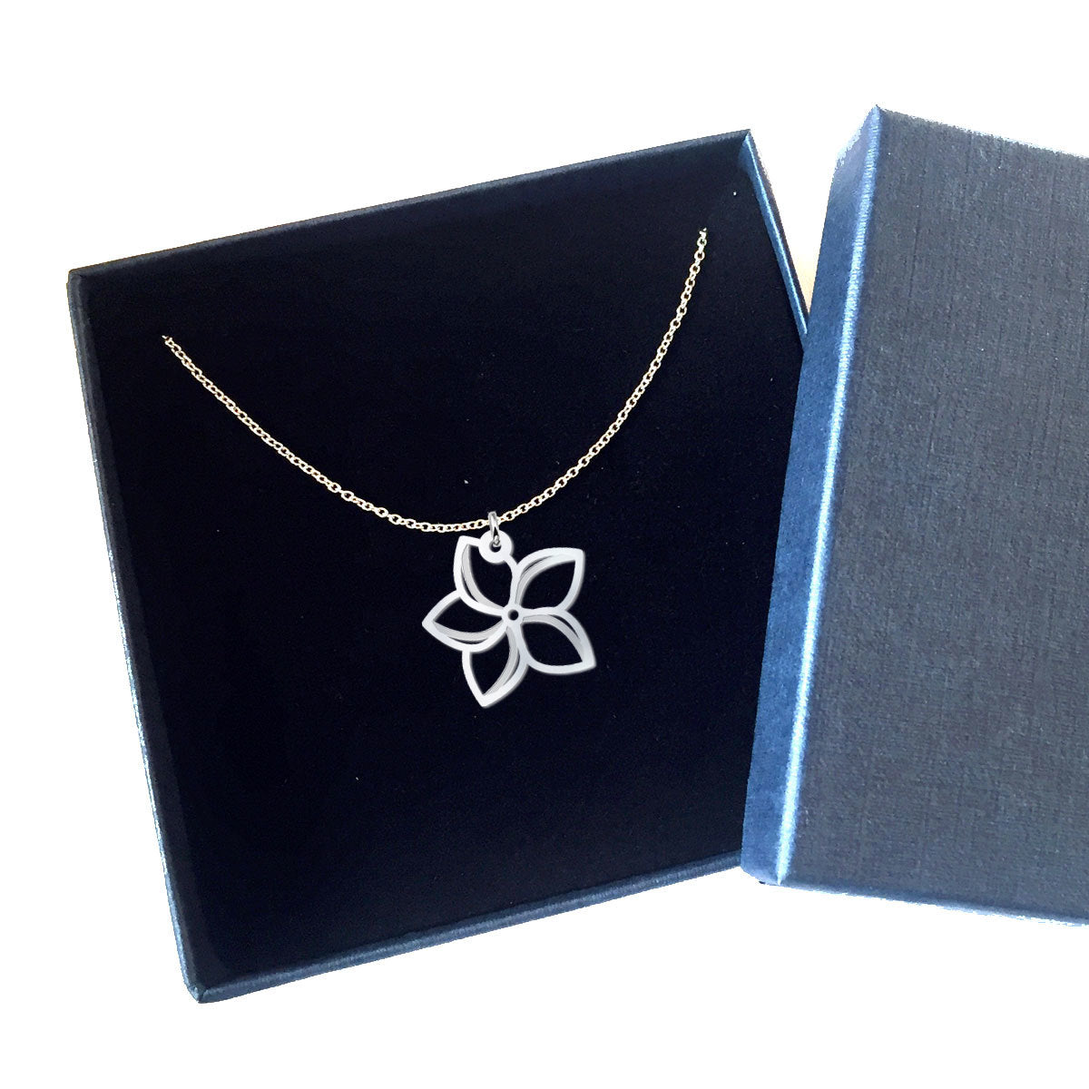 Plumeria Cutout Sterling Silver Necklace