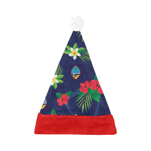 Guam Flag Flowers Christmas Santa Hat