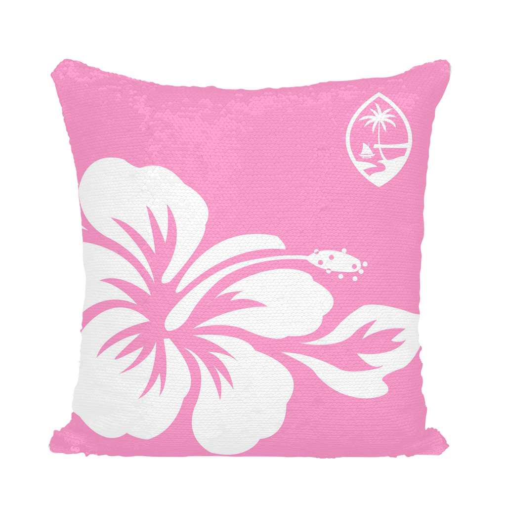 Guam Seal Pink Hibiscus Sequin Cushion Cover