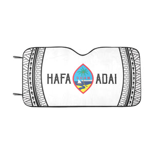 Hafa Adai Guam White Tribal Car Sun Shade