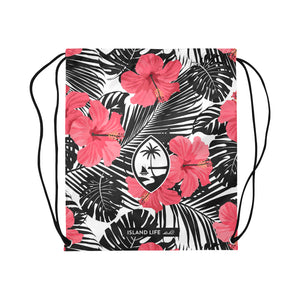 Guam Pink Black Hibiscus Large Drawstring Bag