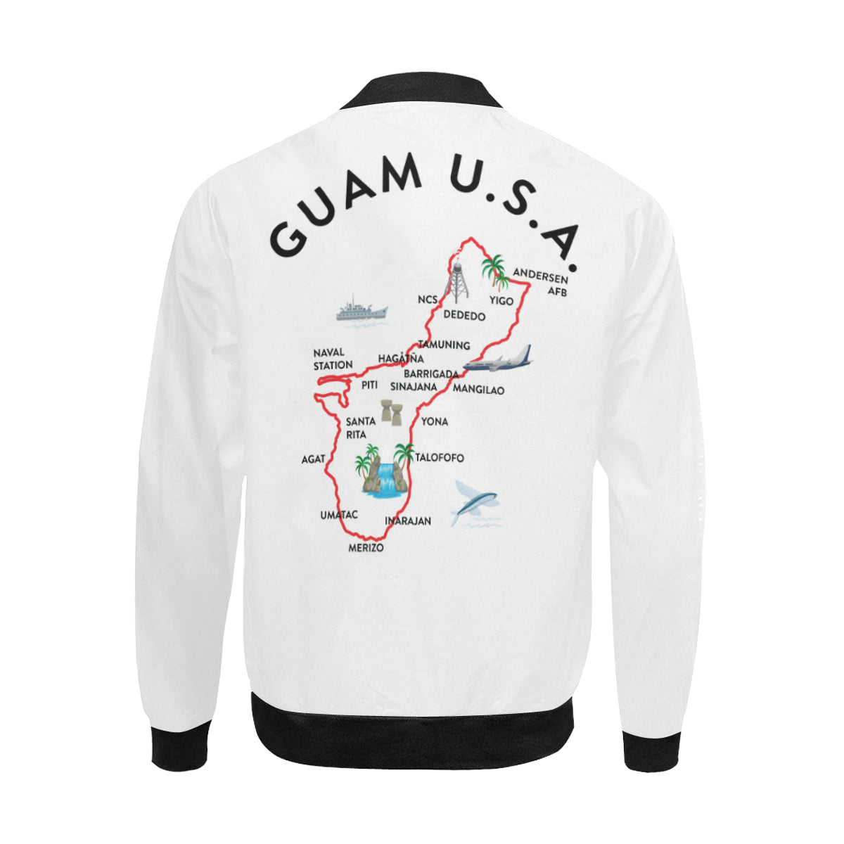 Guam Map White Men's Bomber Jacket