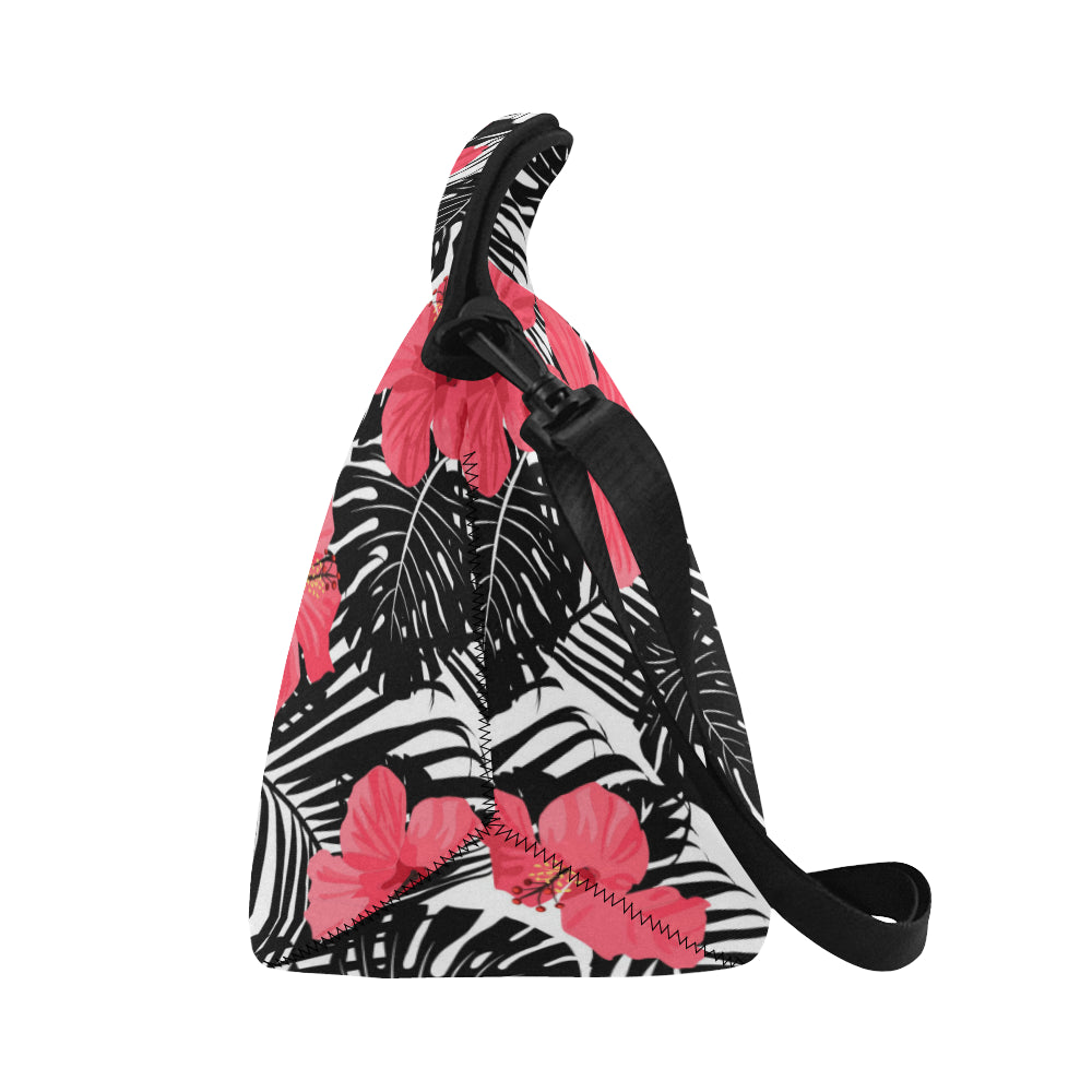 Guam Pink Black Hibiscus Leaves Neoprene Lunch Bag Large