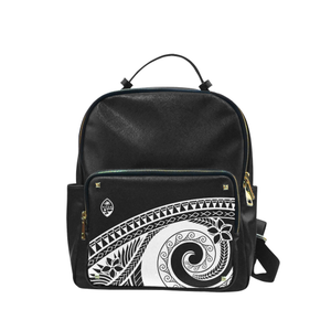 Guam Seal Black Tribal Campus Backpack Purse Large