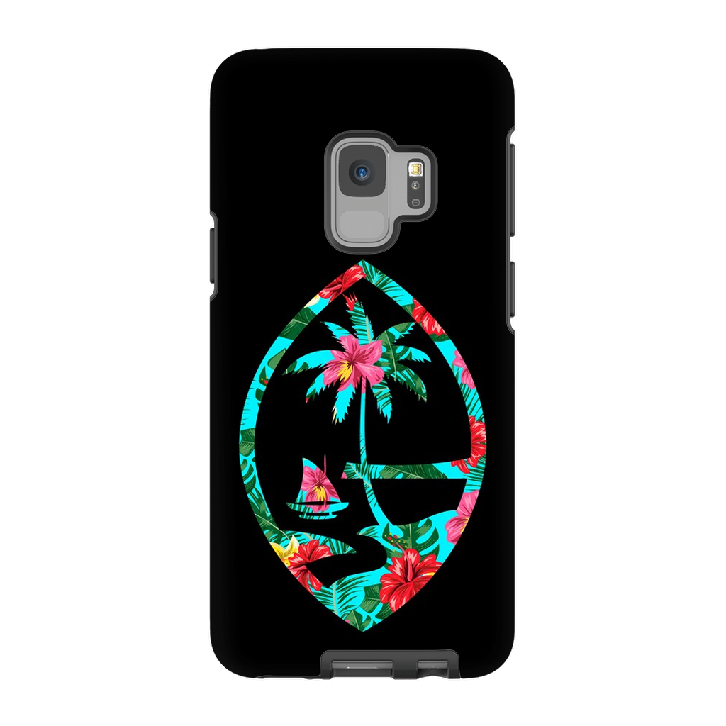 Teal Floral Guam Seal Premium Glossy Tough Phone Case