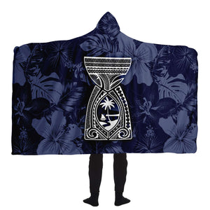 Latte Stone Guam Tribal Blue Premium Sherpa Hooded Blanket