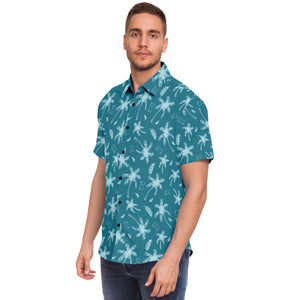 Latte Stone Coconut Trees Blue Button Down Shirt