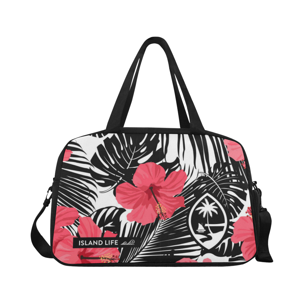 Guam Pink Black Hibiscus Leaves Fitness Gym Bag