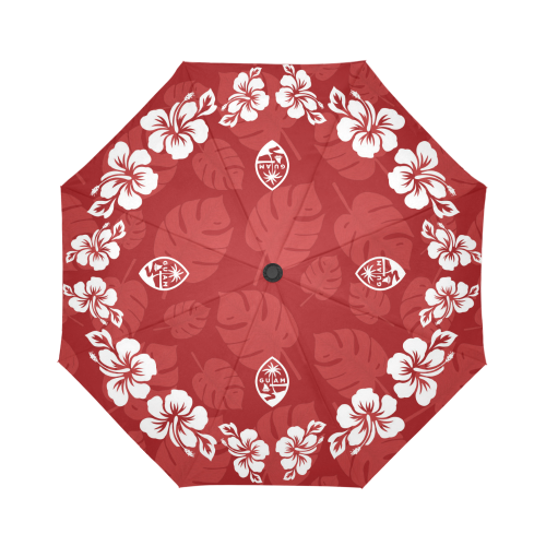 Guam Seal Red Hibiscus Automatic Folding Umbrella