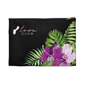Love Guam Purple Hibiscus Accessories Carry All Pouch
