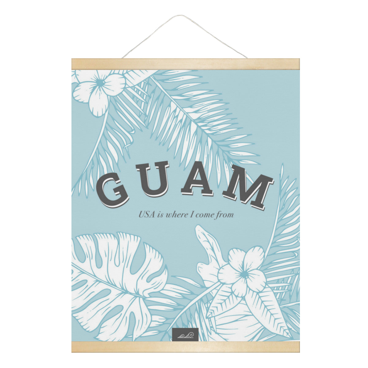 Guam USA Jungle Leaves Hanging Canvas Poster with Wood Frame