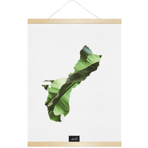 Guam Island Banana Leaves Hanging Canvas Poster with Wood Frame