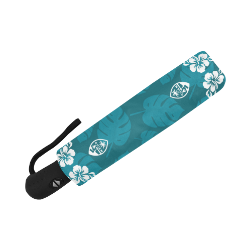 Guam Seal Teal Hibiscus Automatic Folding Umbrella