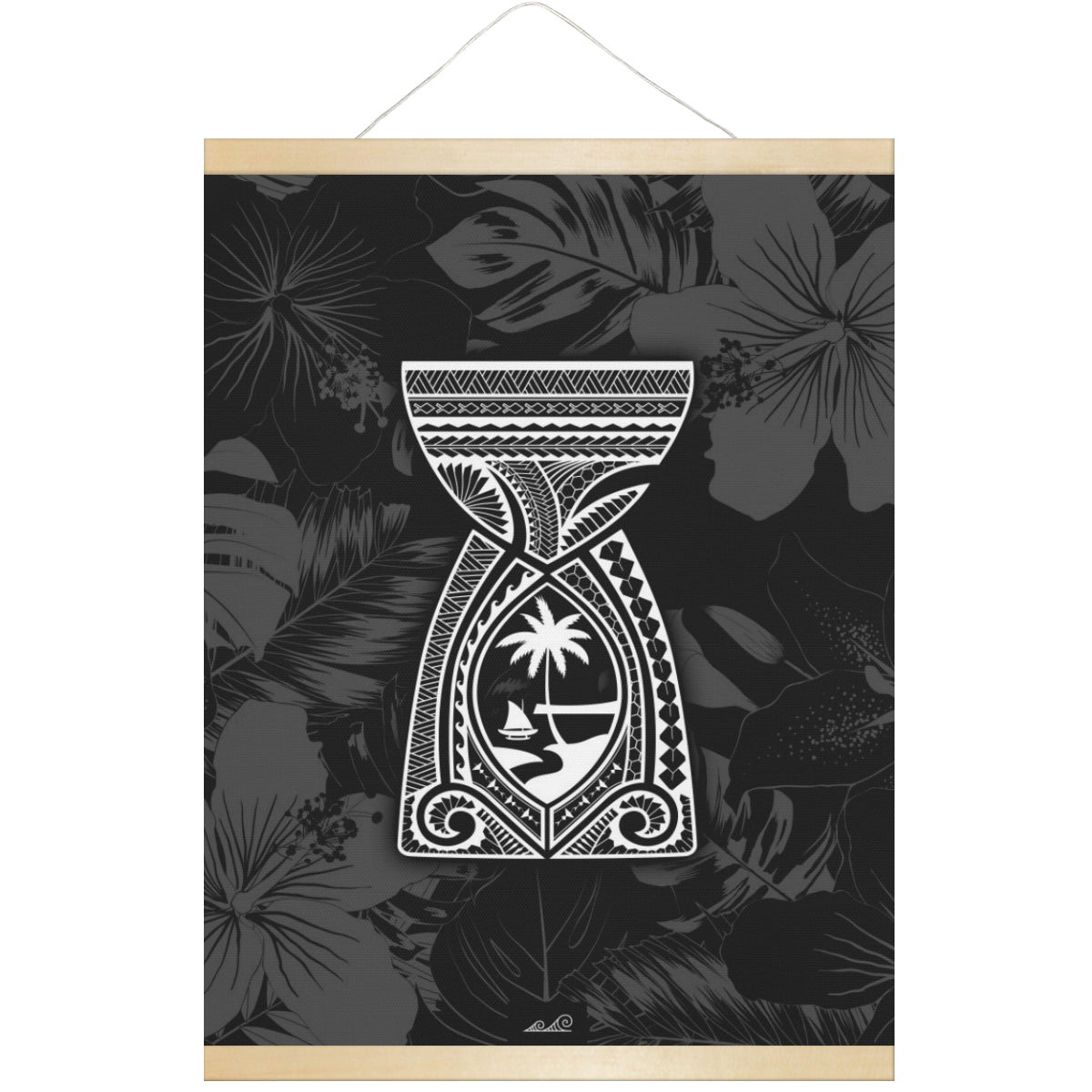 Latte Stone Guam Tribal Hanging Canvas Poster with Wood Frame