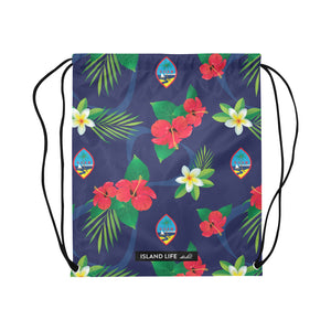 Guam Flag Flowers Large Drawstring Bag