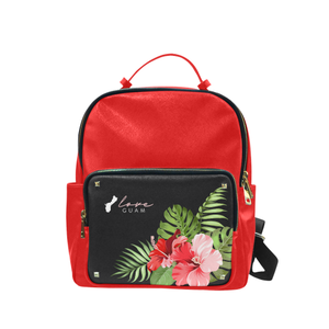 Love Guam Red Hibiscus Campus Backpack Purse Large
