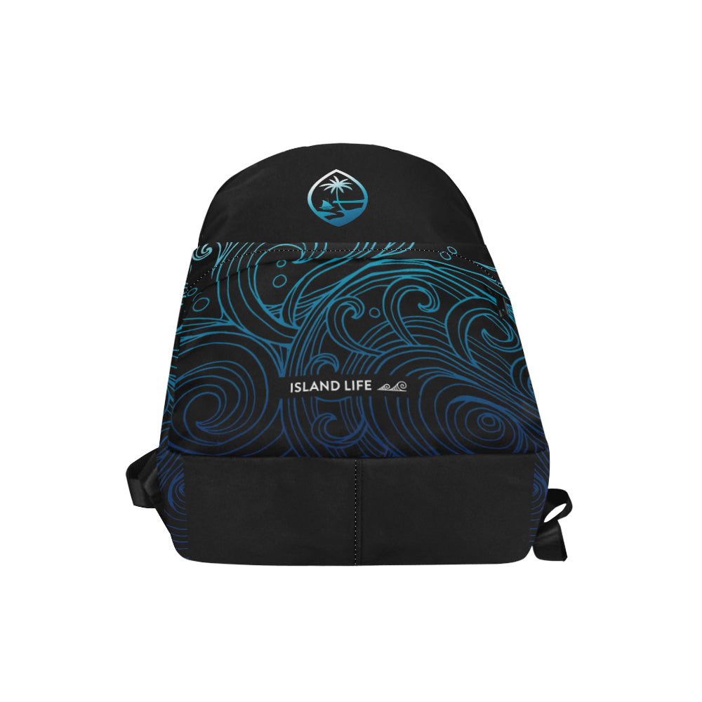 Guam Seal Black Ombre Waves Unisex Classic Backpack
