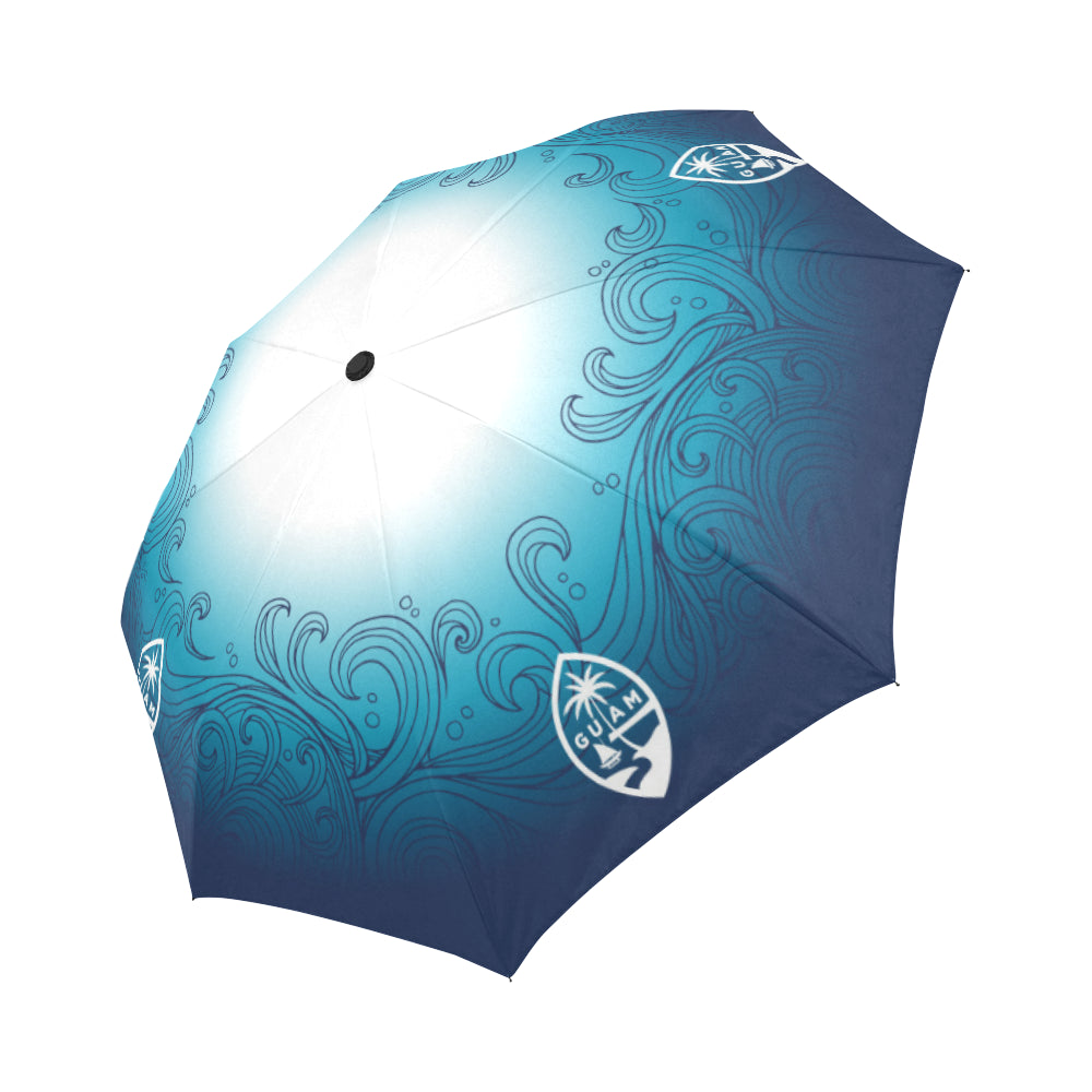 Guam Ombre Waves Automatic Folding Umbrella
