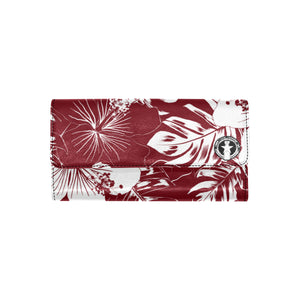 CNMI Saipan Hibiscus Floral Dark Red Women's Trifold Wallet