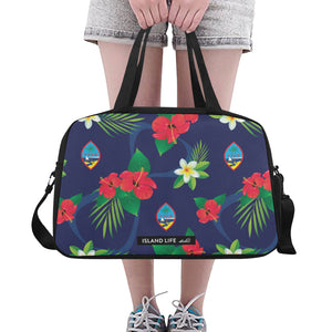 Guam Flag Flowers Fitness Gym Bag