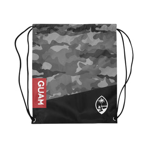 Guam Halftone Gray Camo Large Drawstring Bag