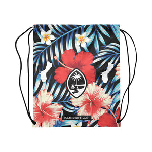 Guam Tropical Floral Large Drawstring Bag