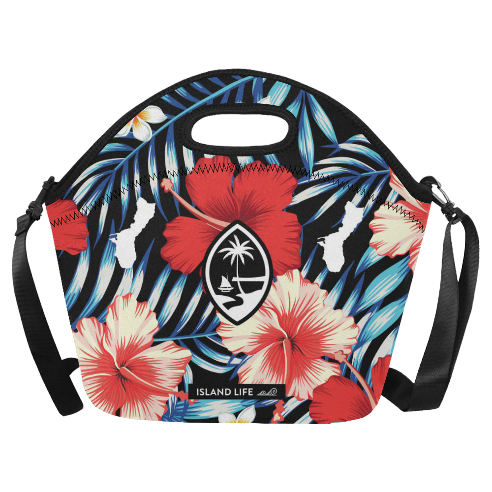 Guam Tropical Floral Neoprene Lunch Bag Large