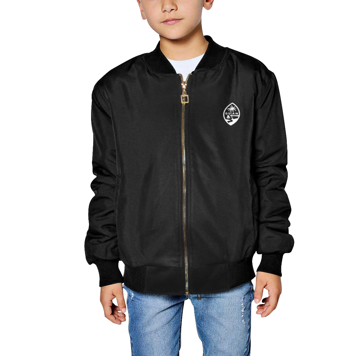 Kids Guam Map Black Bomber Jacket