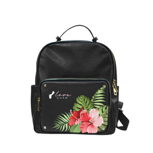 Love Guam Red Hibiscus Black Campus Backpack Purse Large