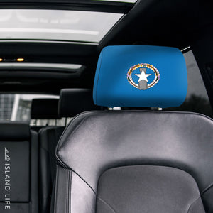 CNMI Saipan Flag Custom Car Headrest Cover (Set of 2) - Ready to Ship