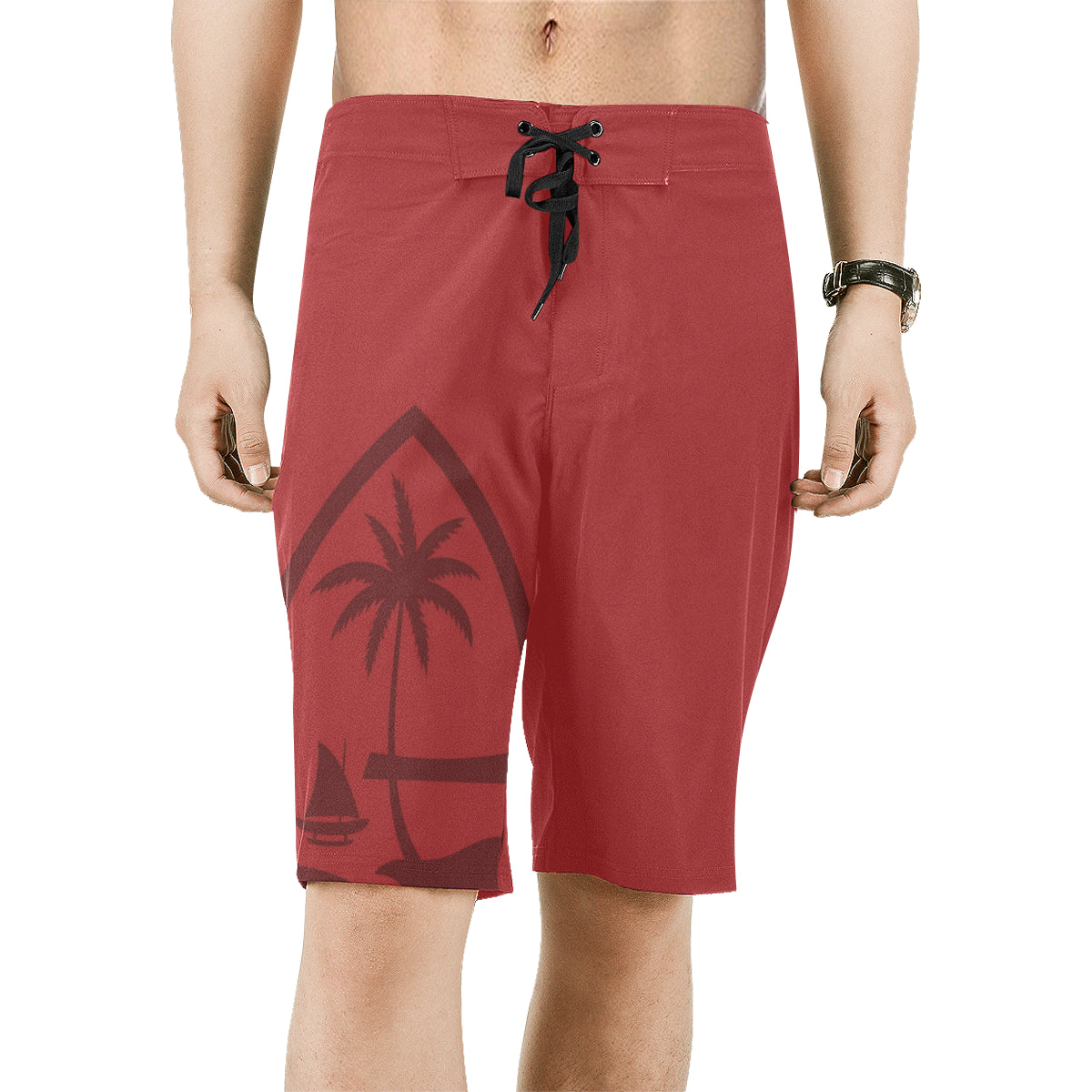Guam Seal Mens Red All Over Print Board Shorts